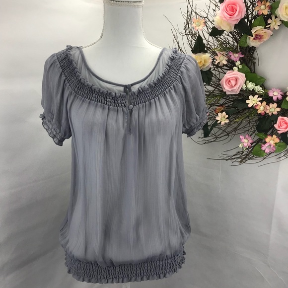Express Tops - ‼️🌟EXPRESS SHEER GRAY BLOUSE WITH MESH NECK 🔥‼️